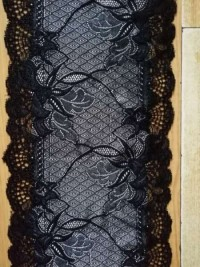 Black Color Fancy Flower Embroidery Lace Fabric